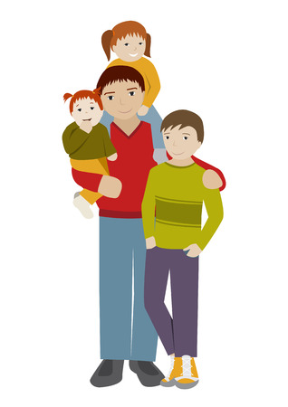 cartoon dad: Father with teenage son and little daughters. Three children with dad. Flat cartoon vector illustration. Illustration
