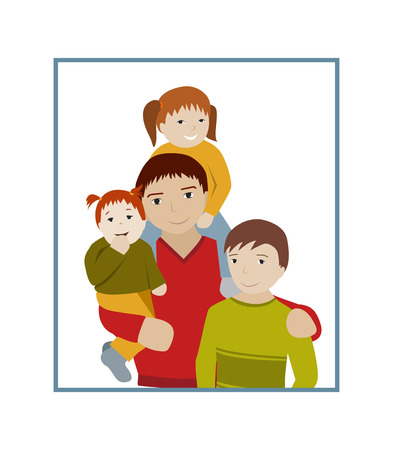 dad and son: Father with teenage son and little daughters portrait. Three children with dad. Flat cartoon vector illustration. Illustration