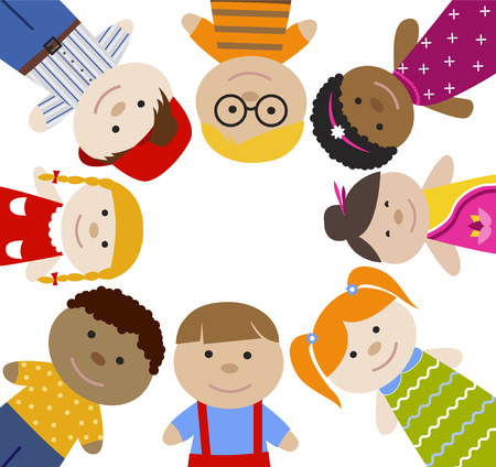 multiracial: Square frame with children. Multiracial girls and boys. Cartoon flat vector illustration. Happy funny kids background.
