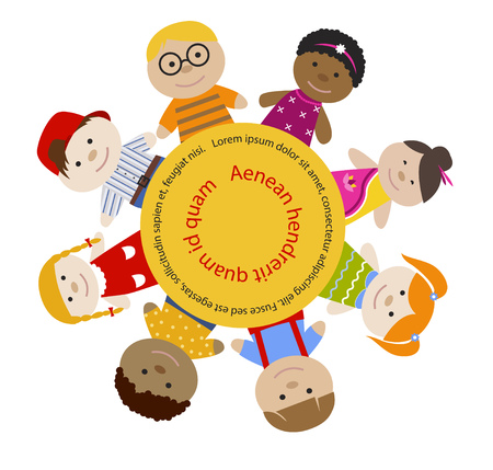 multiracial: Round frame with children. Multiracial girls and boys. Cartoon flat vector illustration. Happy funny kids background. Place for text
