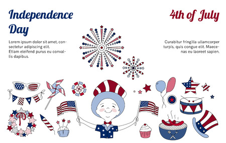 national holiday: Set of thin line elements for USA Independence Day. Collection of icons for national holiday of America. 4th of July. Fireworks, BBQ and boy with flags. Blue and red horizontal design.