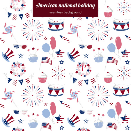 national holiday: Seamless pattern for USA national holiday Illustration