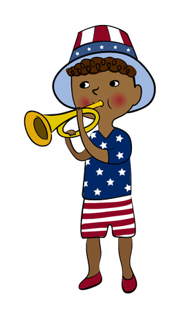 parade: Boy dressed in american flag style with trumpet. 4th of July greeting card. USA Independence Day parade. America national celebration design.