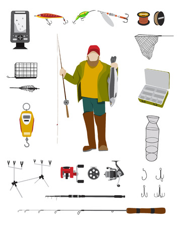 wader: Fisherman and fishing tackle flat icon set Fishing rod, bait, lure, net and other gear and equipment abstract vector illustration