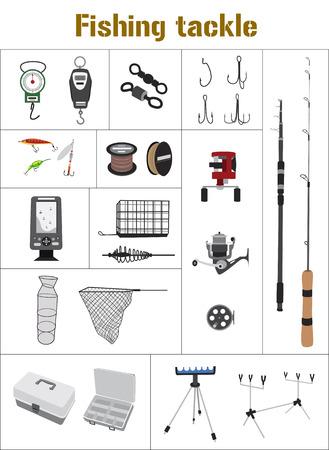 tackle box: Fishing tackle flat icon set Fishing rod, bait, lure, net and others. Illustration