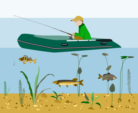 Fisherman fishing in a boat on a lake or river Flat style vector illustration. Illustration