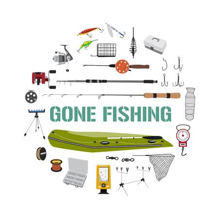 tackle box: Fishing tackle flat icon set in circle shape. Illustration
