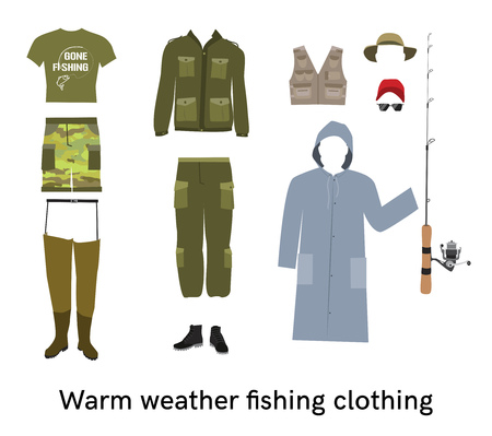 wading: Warm weather fishing clothing flat vector set Fisher summer apparel and gear collection