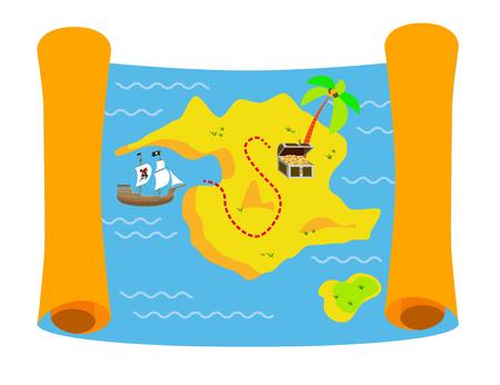Piraat schatkaart kleurrijke flat illustratie met piraten zeilschip en schatkist Vector Illustratie