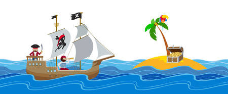 Pirate ship sailing to an island with treasure chest flat horizontal Illustration