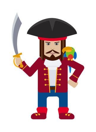 Pirate captain with sword and parrot isolated on white cartoon flat