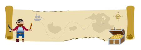 Treasure map scroll flat background with pirate and treasure chest full of golden coins