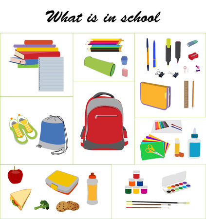 What is in school bag. School essentials flat set. School backpack, gym bag, lunch box, books, and supplies collection.