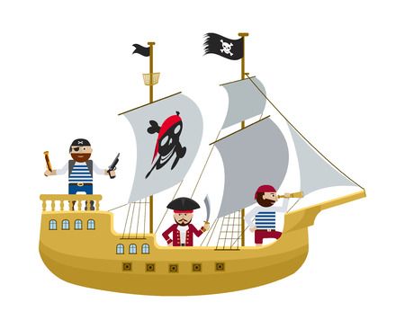 sail board: Pirate ship with skull and crossbones on sail and flag with pirates on board flat illustration Illustration