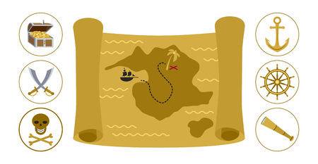 piracy: Treasure map and round pirate icons flat illustration