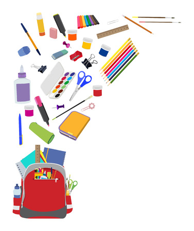 Background with school supplies. School supplies composition with copy space flat background
