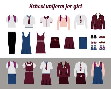blazer: School uniform for girls kit flat illustration Set of female school dress code clothes. Collared button shirt, skirt, blazer and shoes. Illustration