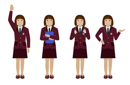 up skirt: School girl in uniform blazer and skirt flat illustration Set of different poses - raising hand up, holding book, with backpack and presenting Illustration