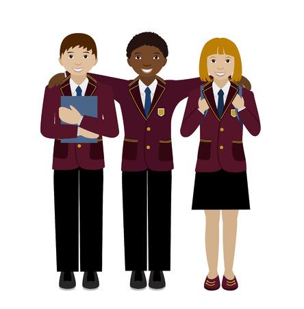 Gruppe Schule Mädchen und Jungen in Uniform, Teenager-Alter multiracial Kinder isoliert auf weiße, flache Illustration, Mitschüler, Freunde Konzept