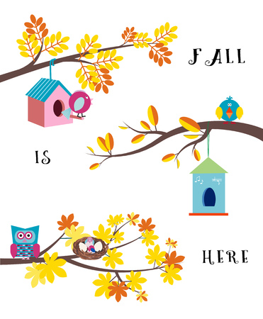 Fall is here. Set of autumn tree brunches with colorful leaves, birds and nesting boxes flat vector border