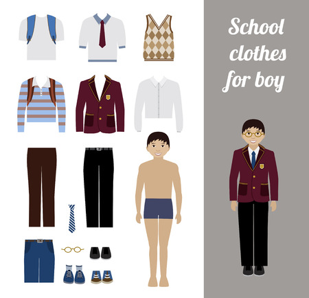 school kit: Create school boy kit with full body boy and different uniforms flat illustration. Set of male school dress code clothes. Illustration
