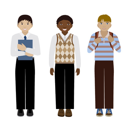vest in isolated: School multiethnic boys in different uniform isolated on white flat illustration
