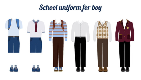 for boys: School uniform for boys kit flat illustration Set of male school dress code clothes. Collared button shirt, trousers, blazer and boots.
