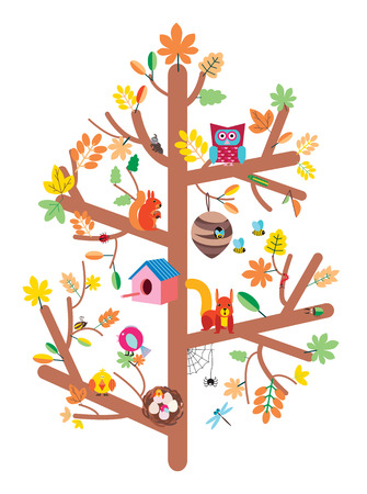 Autumn tree with colorful leaves, birds,animals and nesting boxes, insects flat illustration kids design