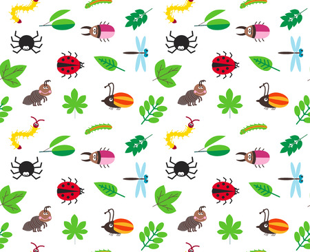 children caterpillar: Funny cartoon insects and tree leaves seamless background, pattern with spider, bugs, dragonfly, caterpillar and ant Illustration