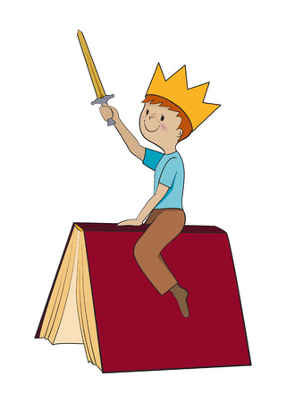 role play: Child reading book, kid imagination, role play concept, Boy sitting on a book in crown with sword cartoon vector illustration