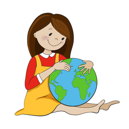 environmentalist: Cute girl hugging globe cartoon vector illustration. Ecology, environment protection, travel, georgraphy concept.