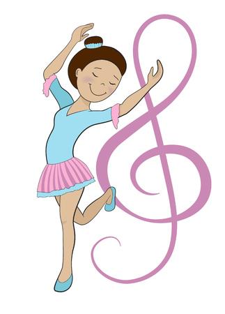 Girl dancing ballet isolated on white cartoon vector illustration