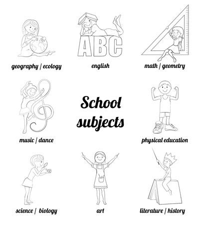educacion fisica: Materias de la escuela vector de página para colorear, matemáticas e inglés, música y arte, la ciencia y la educación física