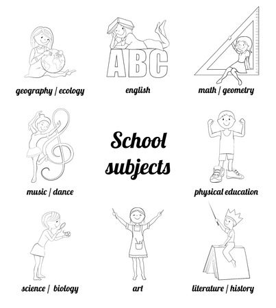 physical education: School subjects vector coloring page, Math and english, music and art, science and physical education
