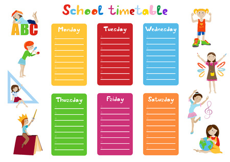 weekly: School timetable, weekly schedule for students cartoon vector illustration