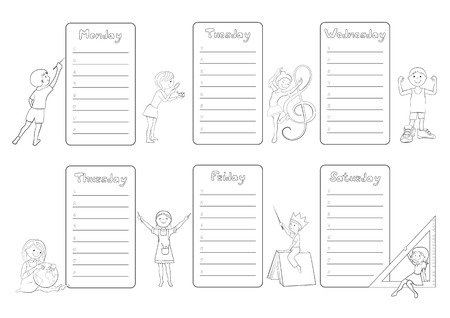 classes schedule: Kids school timetable, weekly planner, organizer for students cartoon vector coloring page