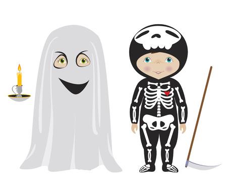 guadaña: Niños vestidos para Halloween o de carnaval, muchacho lindo y muchacha en trajes de fantasmas y esqueletos, vector de dibujos animados.