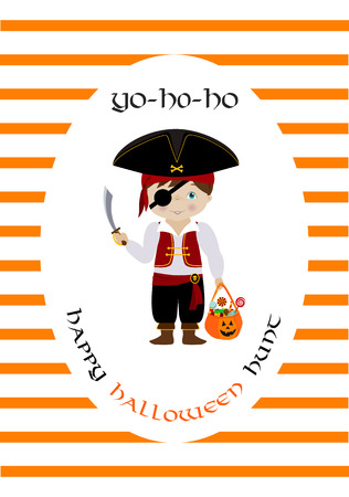 ahoy: Happy halloween vector card with cute cartoon pirate Illustration