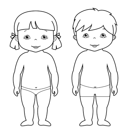 Coloring page with cute baby boy and girl, small children, isolated on white, vector illustration