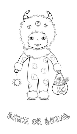 Trick or treat halloween cartoon coloring page with cute kid in monster costume with spider and pumpkin bag full of sweets Illustration