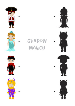 halloween themed logic shadow matching game for kids choose correct dress shadow for children dressed