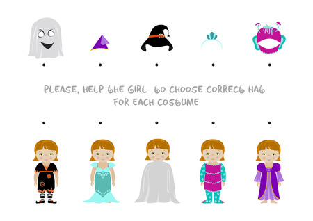 Halloween themed logic matching game for kids, Choose correct hat for girl dressed in costumes of witch, mermaid,ghost, monster and fairy. A4 format ready for print. Stock Illustratie