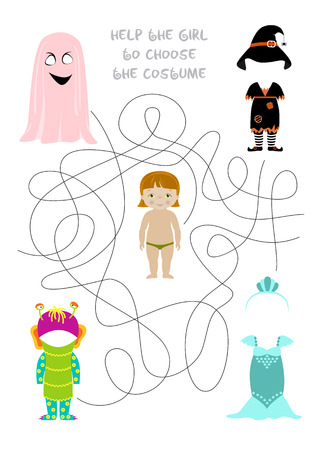 Halloween themed vector maze game, What costume will the girl choose for party. Answer - witch. A4 format ready for print.
