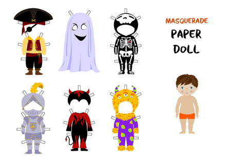 Halloween paper doll cartoon vector, Little boy body template and set of fancy costumes for carnival - ghost and skeleton, pirate and knight, monster and devil.A4 format ready for print.
