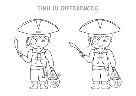 spot the difference: Halloween themed find all differences educational game for kids, Boy in pirates costume with pumpkin bag full of sweets. A4 format ready for print.