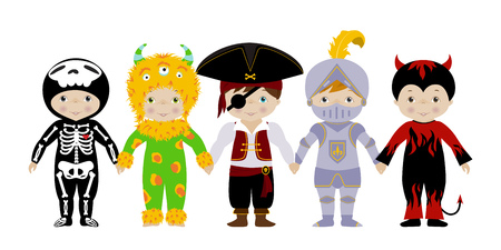costume ball: Vector horizontal banner with cute little boys in fancy dresses of skeleton, monster, pirate, knight and devil.