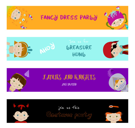 costume ball: Set of horizontal banners with cute little kids in fancy dresses of fairy, monster, witch and pirate, flat vector style.