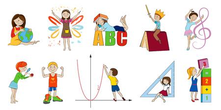 educacion fisica: Materias de la escuela de ilustración vectorial de dibujos animados, matemáticas e inglés, música y arte, la ciencia y la educación física Vectores