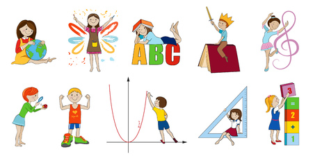 School subjects vector cartoon illustration, Math and english, music and art, science and physical education