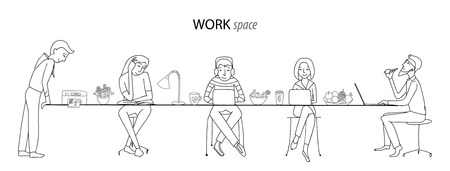 work environment: Work space, office, coworking, team work concept, thin line style vector Illustration